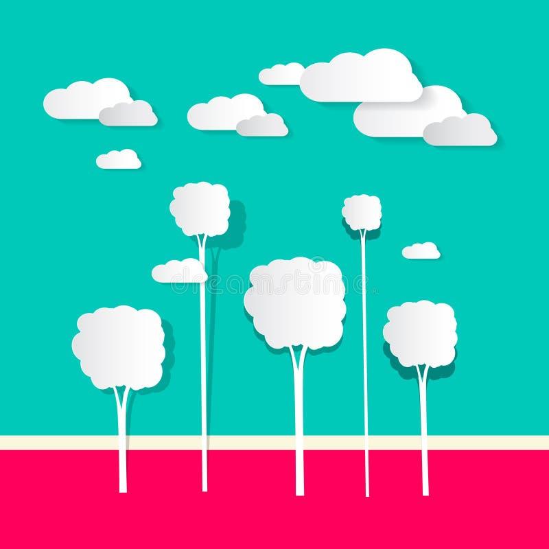 Бумажные облака и деревья бесплатная иллюстрация