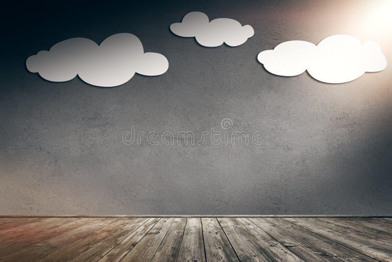 Бумажные облака на бетонной стене с солнечным пирофакелом стоковое фото rf