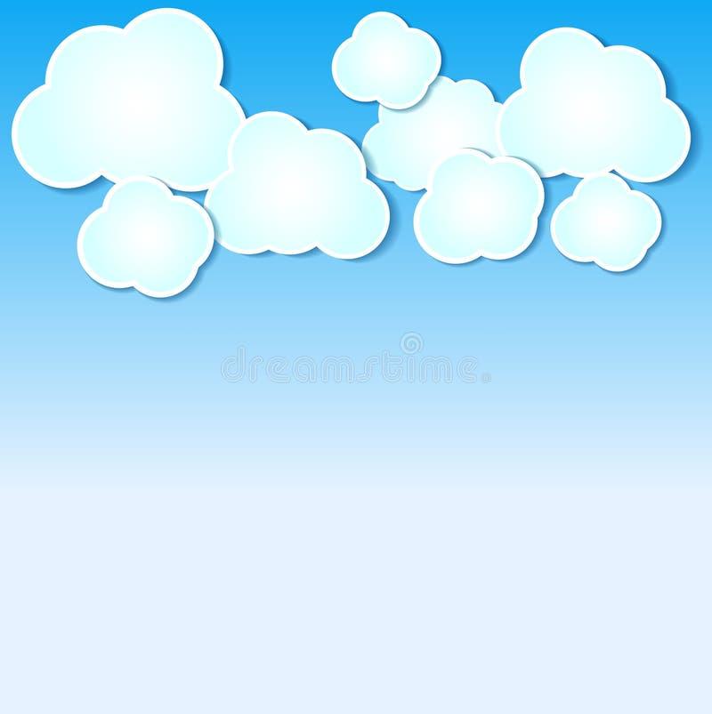 Бумажные облака проиллюстрировали предпосылку на голубом небе. иллюстрация вектора