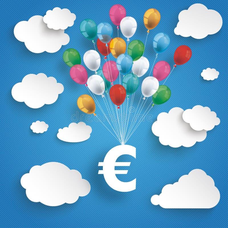 Бумажные облака Striped евро воздушных шаров голубого неба иллюстрация штока