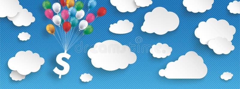 Бумажные облака Striped заголовок доллара воздушных шаров голубого неба иллюстрация штока