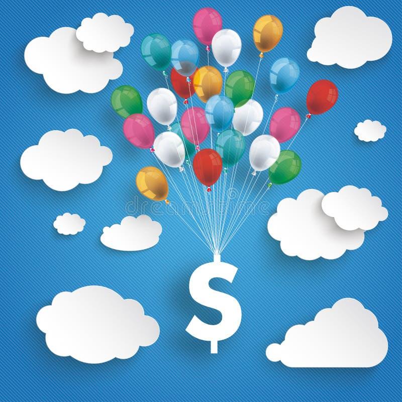 Бумажные облака Striped доллар воздушных шаров голубого неба бесплатная иллюстрация
