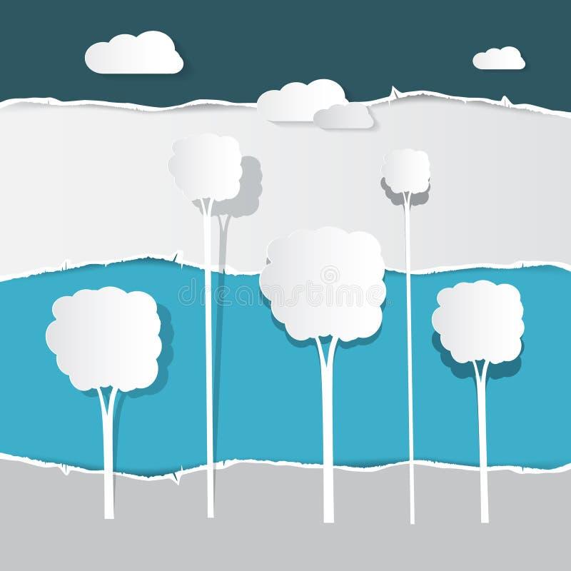 Бумажные отрезанные деревья на сорванной бумажной предпосылке иллюстрация вектора