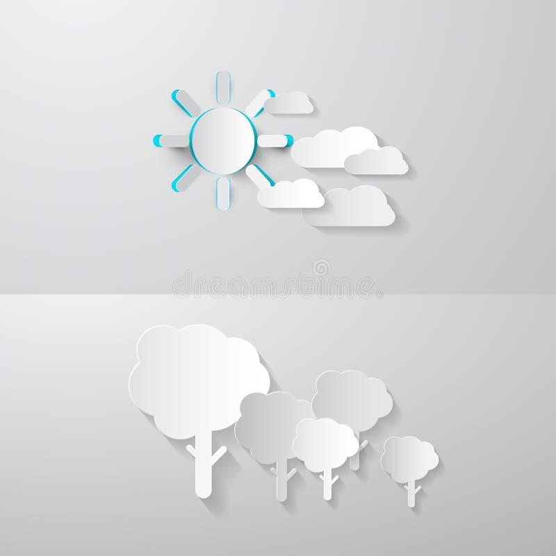 Бумажные отрезанные деревья, облака и Солнце иллюстрация штока