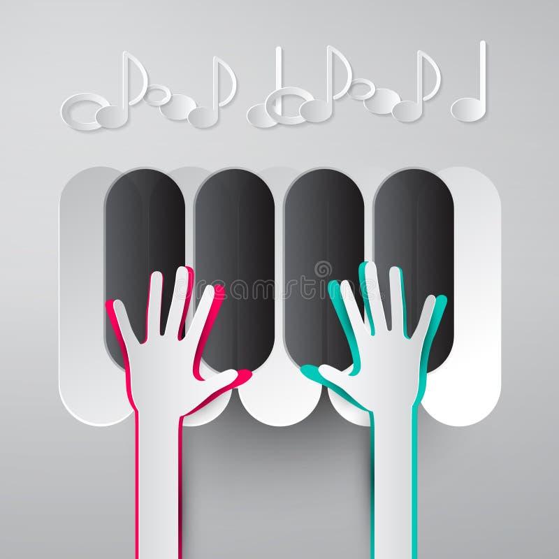 Бумажные руки играя клавиатуры рояля с примечаниями иллюстрация штока