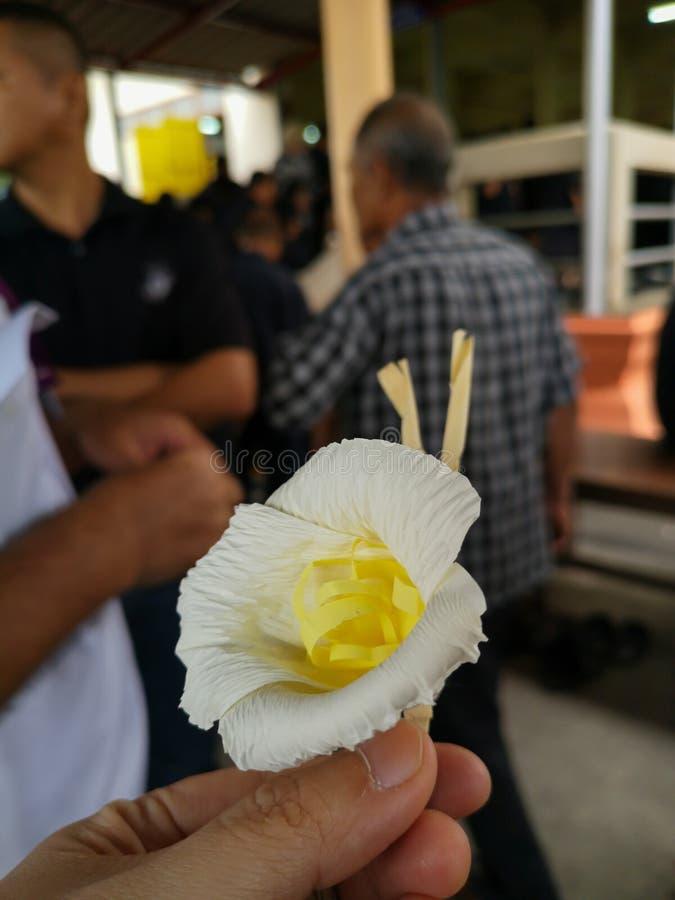 Бумажные цветки использовали для показа скорбящих для похорон стоковое фото