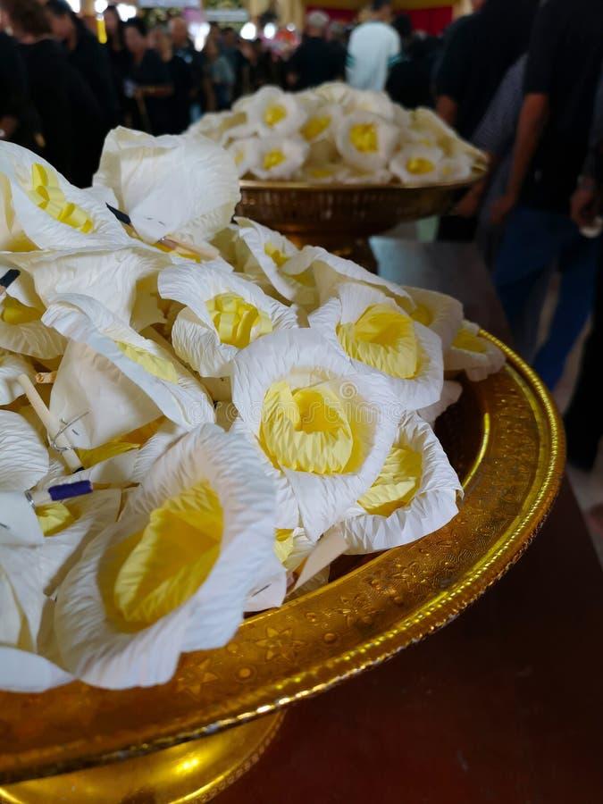 Бумажные цветки использовали для показа скорбящих для похорон стоковое фото rf
