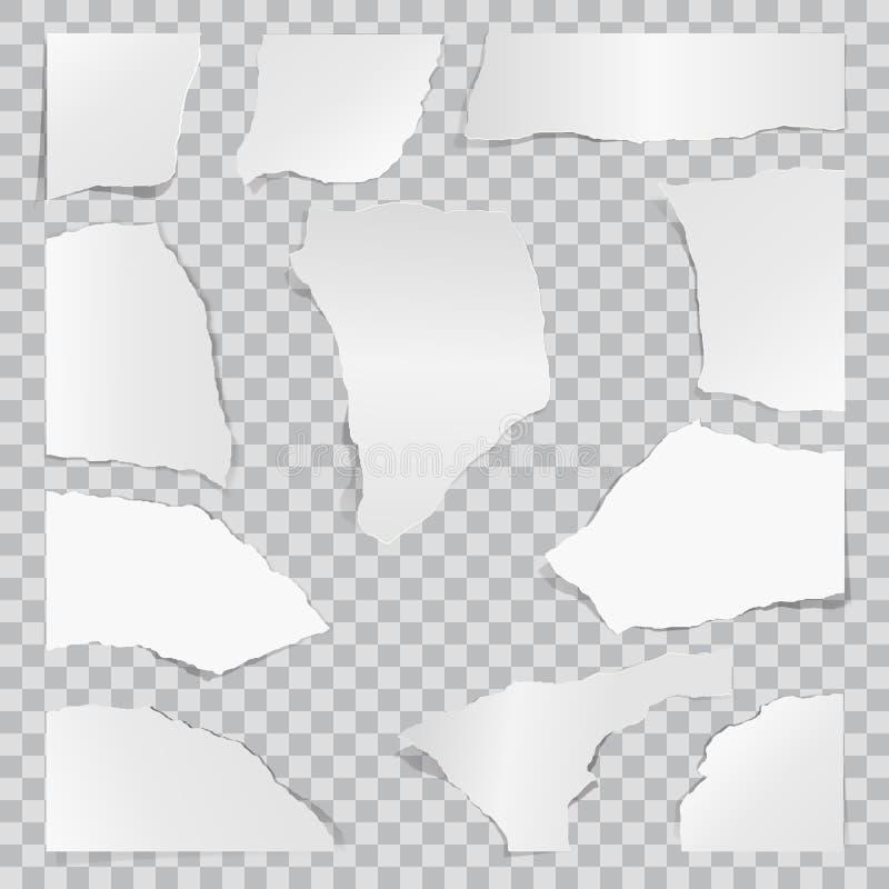 бумажные части к сорвано Бумага утиля Предпосылка знамени сети иллюстрация штока
