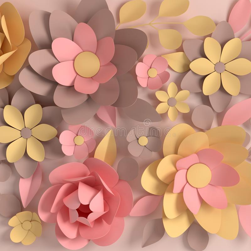 Бумажные элегантные пастельные покрашенные цветки на бежевой предпосылке День Валентайн, пасха, День матери, поздравительная откр бесплатная иллюстрация