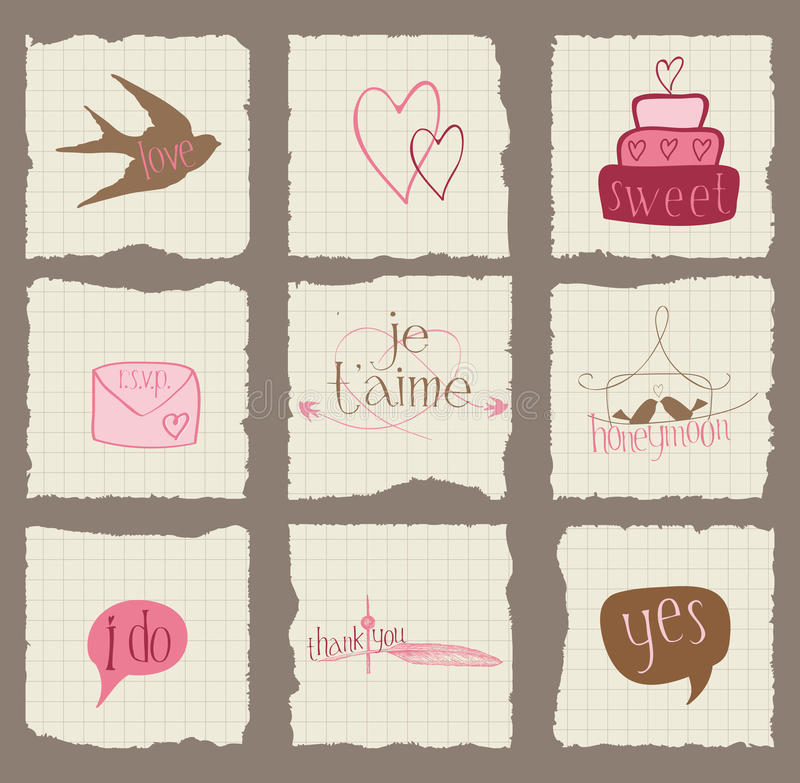 Бумажные элементы конструкции влюбленности и венчания иллюстрация штока