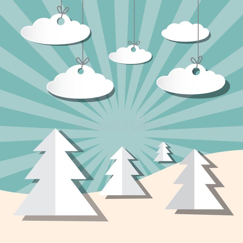 Бумажный ландшафт вектора зимы с деревьями иллюстрация штока
