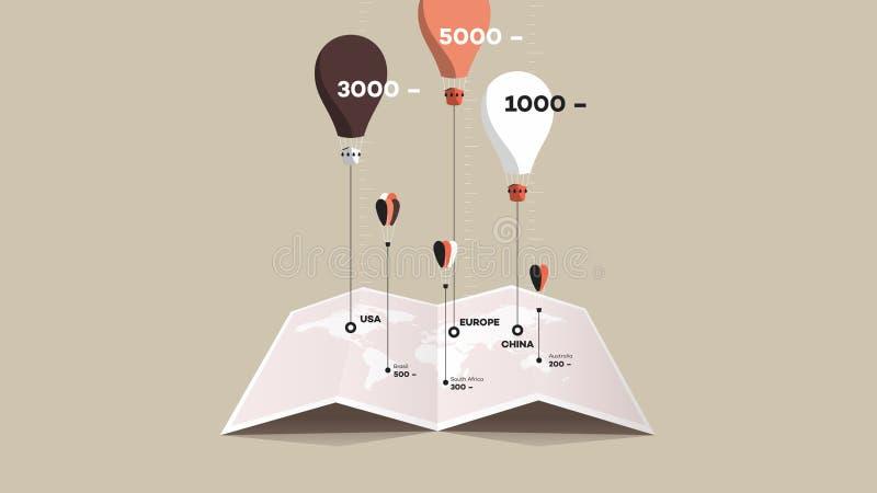 Бумажный буклет с Worldmap и красочные воздушные шары над им Плоская иллюстрация вектора сравните принципиальную схему иллюстрация вектора
