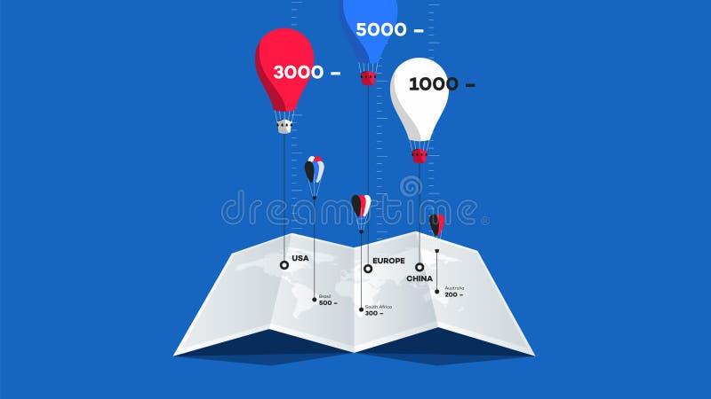 Бумажный буклет с Worldmap и красочные воздушные шары над им Плоская иллюстрация вектора сравните принципиальную схему бесплатная иллюстрация