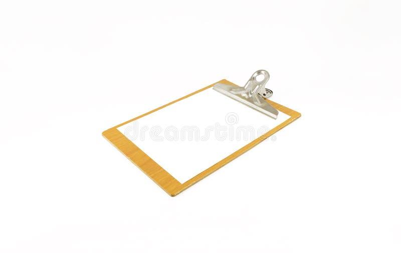 Бумажный блокнот на деревянной плите на белой предпосылке стоковое фото
