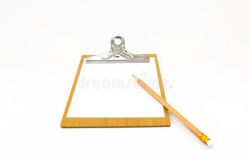 Бумажный блокнот на деревянной плите с карандашем стоковые изображения rf