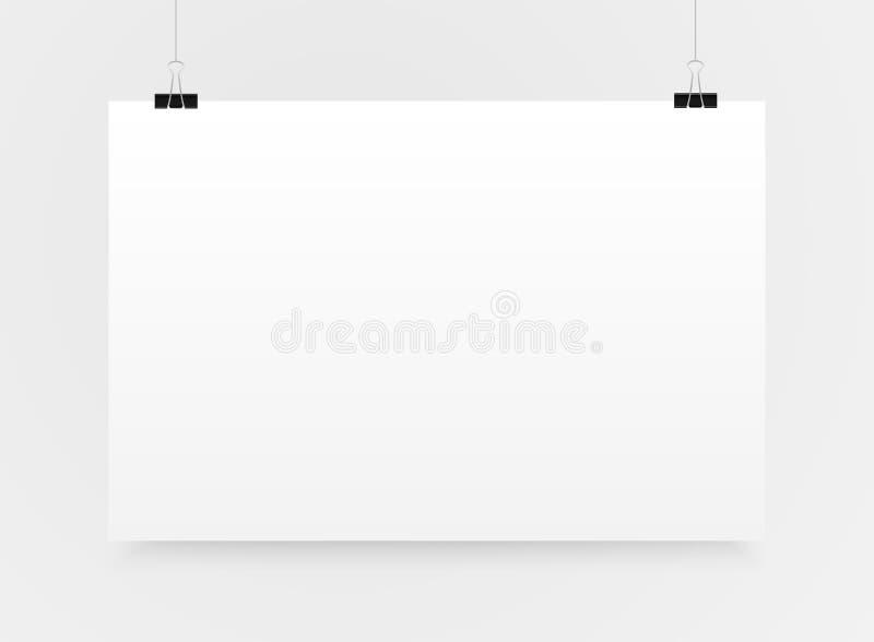 Бумажный вектор знамени прямоугольника Насмешка вверх A4 иллюстрация штока