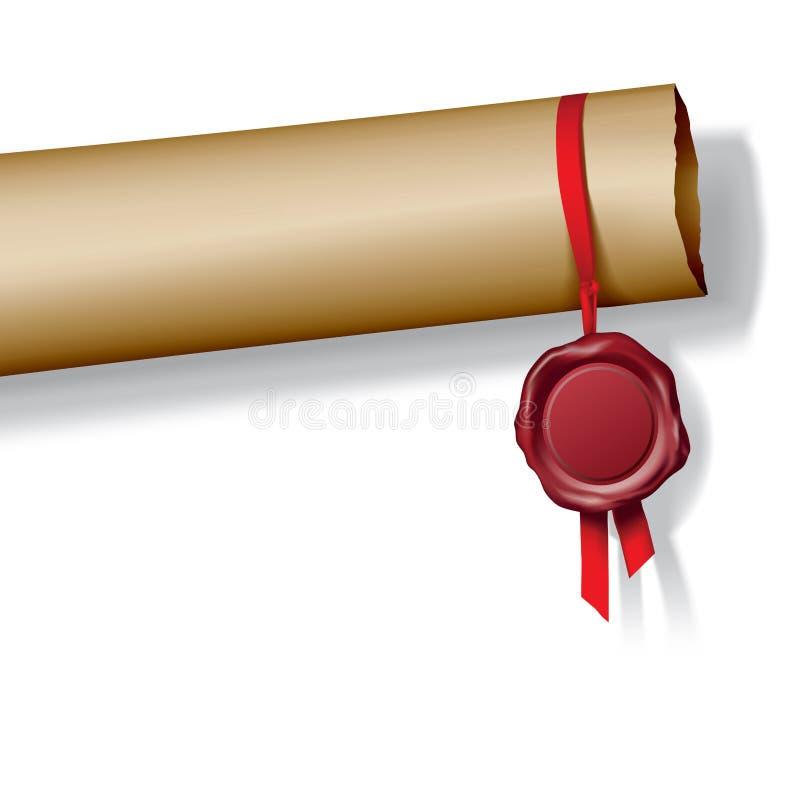 бумажный воск уплотнения иллюстрация вектора