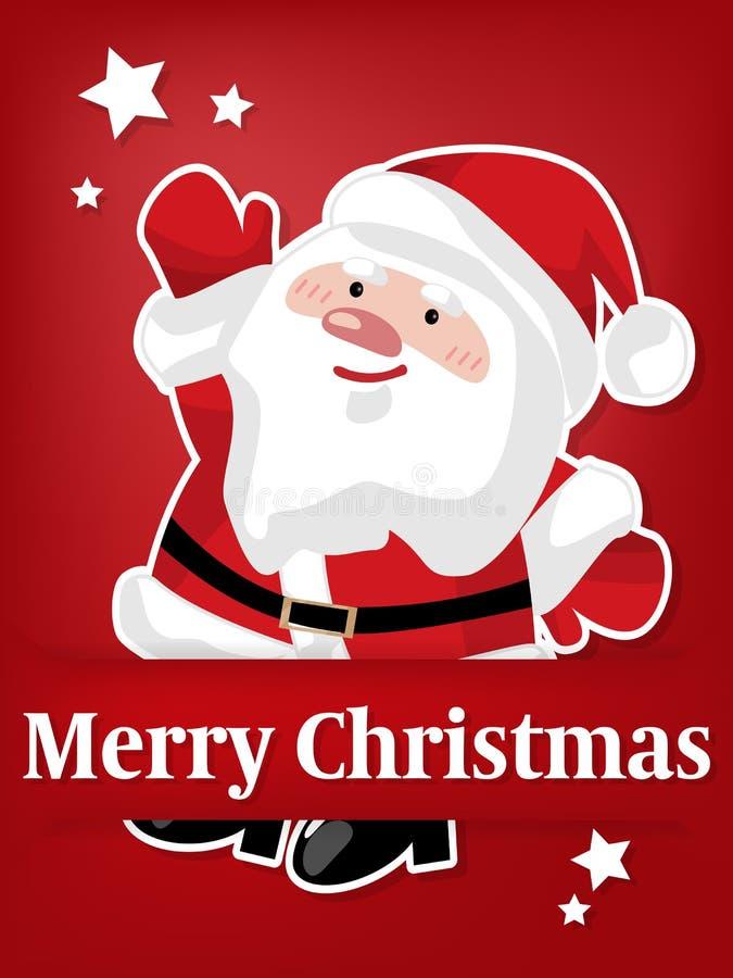 Бумажный высекать искусства Санта Клауса под счастливыми праздниками! текст иллюстрация вектора