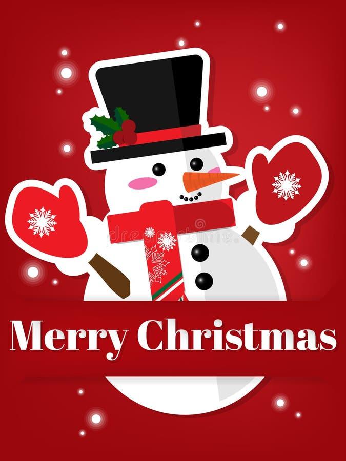 Бумажный высекать искусства снеговика под текстом веселого рождества иллюстрация штока