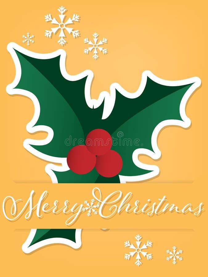 Бумажный высекать искусства ягод падуба под текстом веселого рождества бесплатная иллюстрация