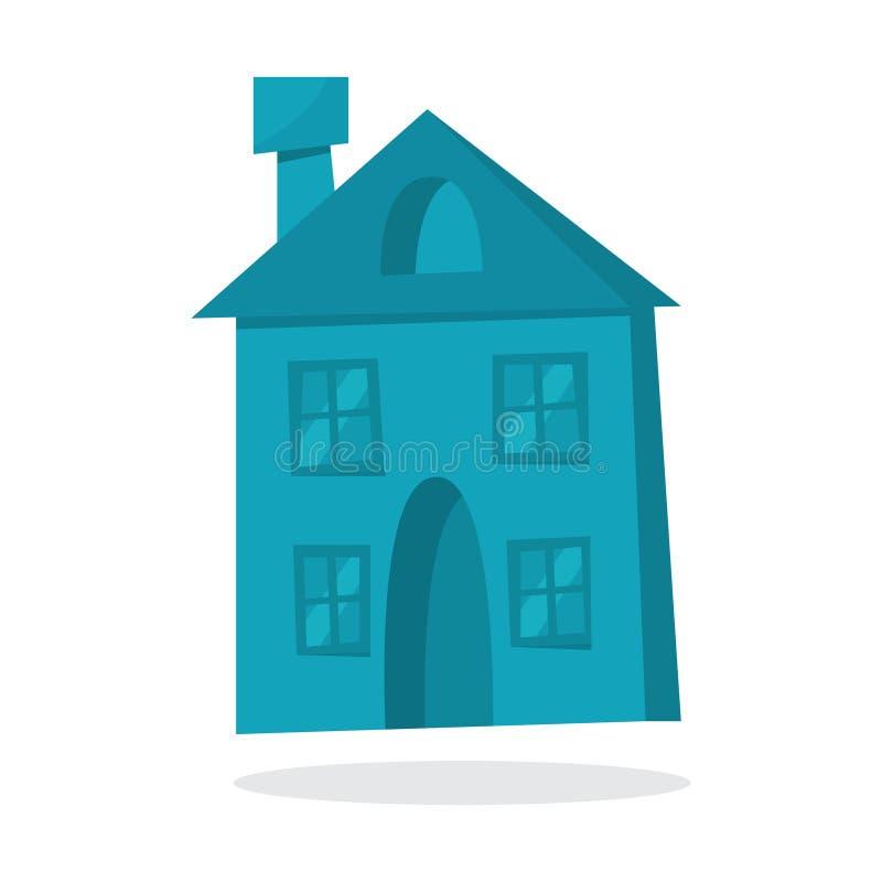 Бумажный голубой дом рождества Милое здание афоризмов бесплатная иллюстрация