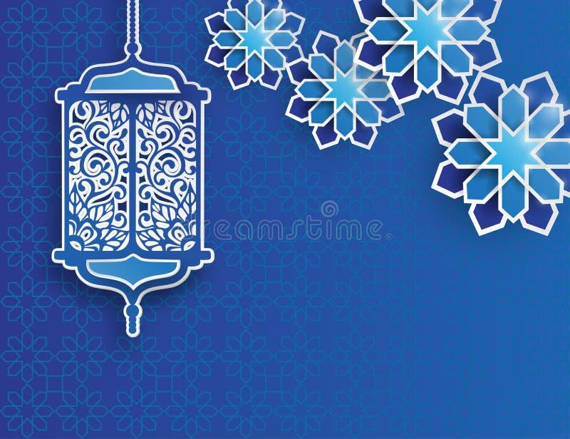 Бумажный график исламских фонарика и звезд бесплатная иллюстрация