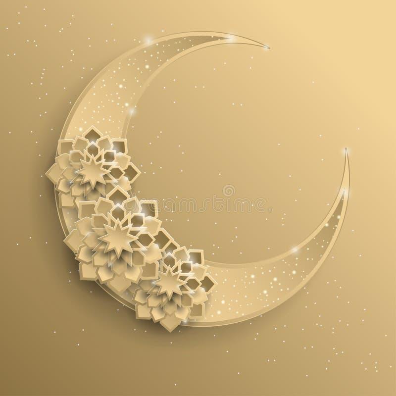 Бумажный график исламской серповидной луны, формы звезды иллюстрация штока