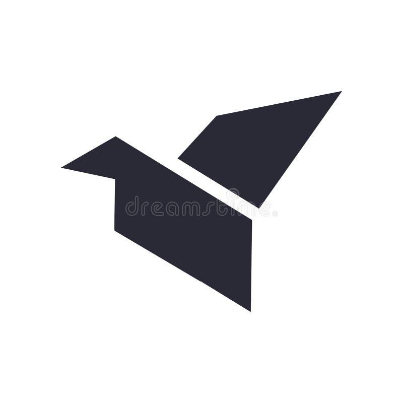 Бумажный знак и символ вектора значка птицы изолированные на белой предпосылке, бумажной концепции логотипа птицы бесплатная иллюстрация