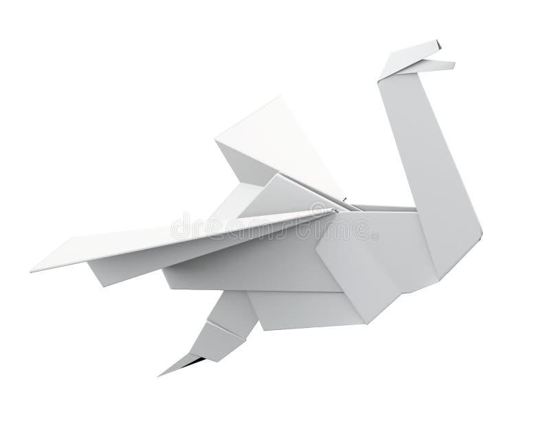 Бумажный кран изолированный на белой предпосылке перевод 3d бесплатная иллюстрация