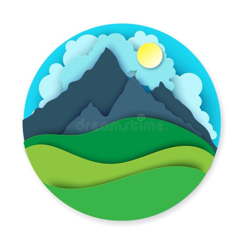 Бумажный ландшафт с холмами, горами, солнцем и облаками иллюстрация штока