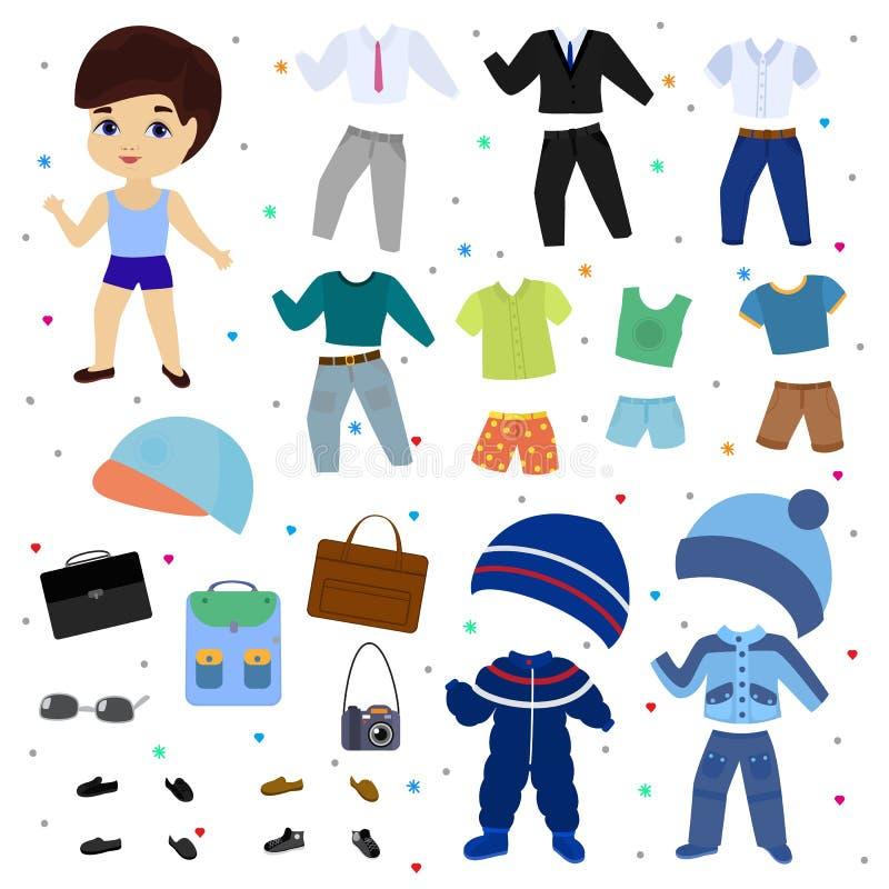 Бумажный мальчик вектора куклы одевает одежду с брюками моды или обувает комплект иллюстрации мальчишеский мужских одежд для реза иллюстрация штока