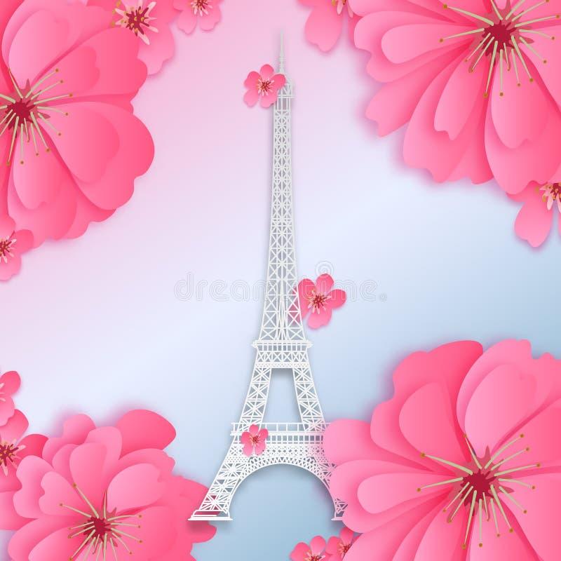 Эйфелева башня бумажный отрезанный дизайн бесплатная иллюстрация