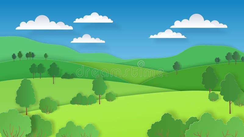 Бумажный отрезанный ландшафт Горы полей зеленых холмов природы и лес, сцена бумажного искусства сельская Предпосылка экологичност бесплатная иллюстрация