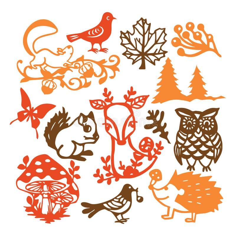 Бумажный отрезанный набор животных леса силуэта винтажный иллюстрация вектора