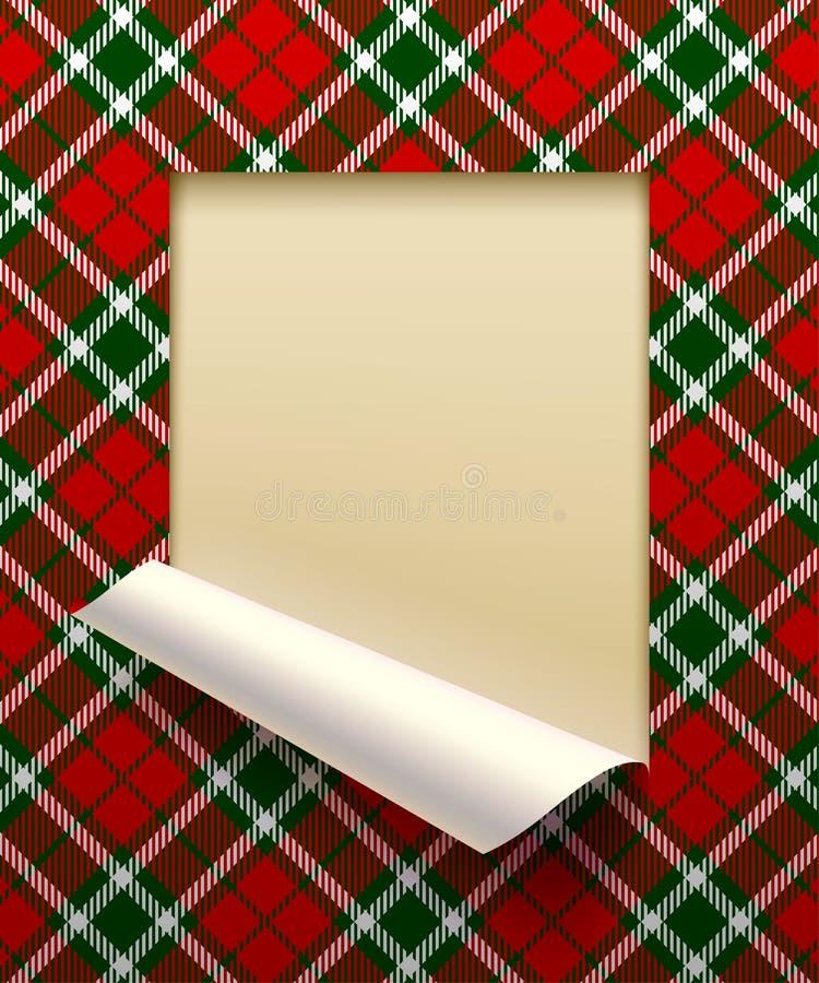 Бумажный отрезок листа обрамленный и частично свернутый вверх с backg тартана иллюстрация штока