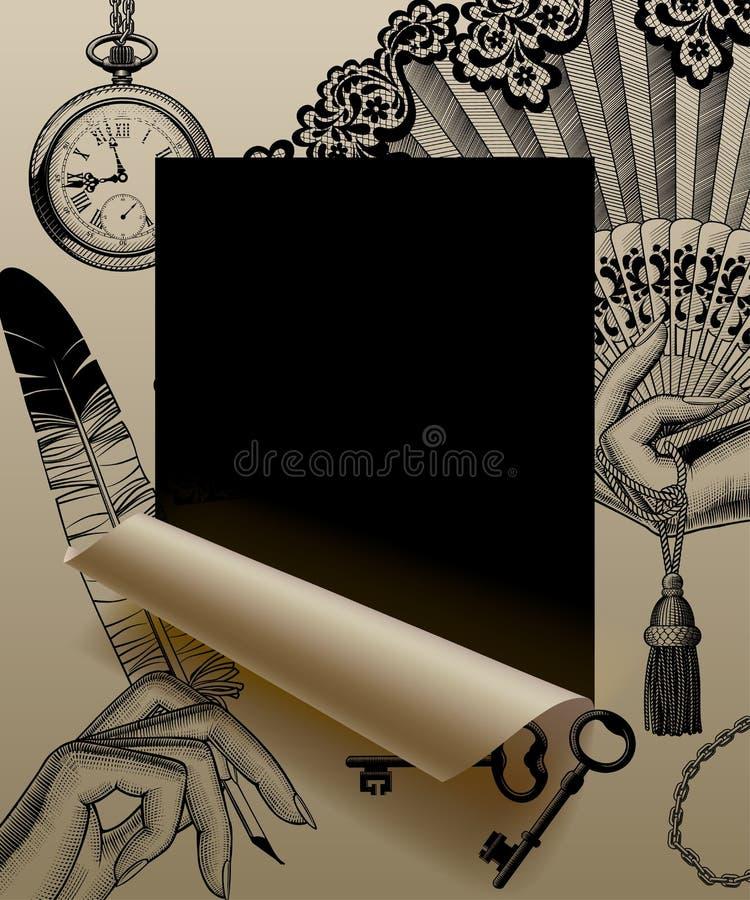 Бумажный отрезок листа обрамленный и частично свернутый вверх с винтажное engr иллюстрация вектора