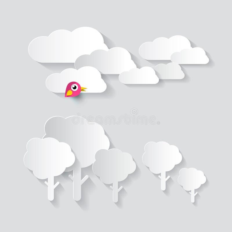 Бумажный отрезок Clous и деревья с птицей иллюстрация вектора