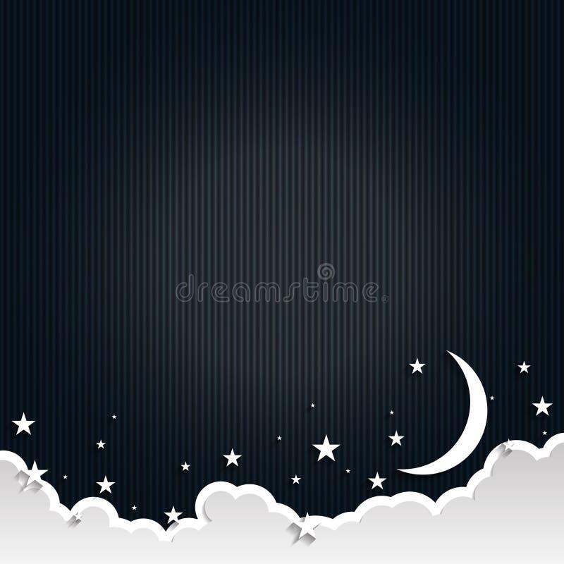 Бумажный полумесяц искусства, лучи, пушистые облака и звезды в полночи Современный стиль искусства бумаги origami 3d также вектор бесплатная иллюстрация