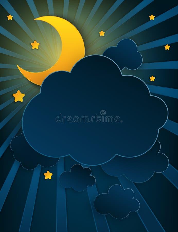 Бумажный полумесяц искусства, лучи, пушистые облака и звезды иллюстрация штока