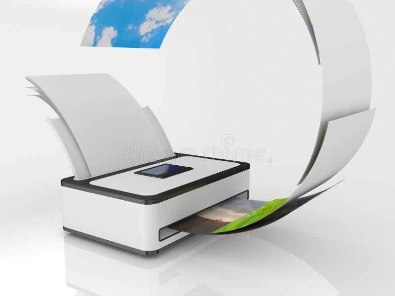 бумажный принтер иллюстрация вектора