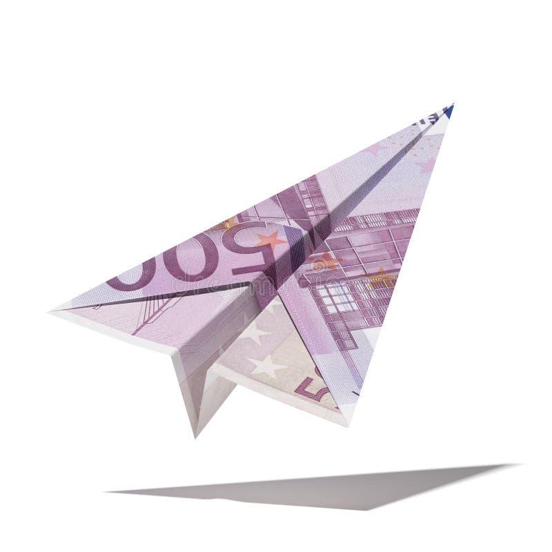 Бумажный самолет сделанный с счетом евро иллюстрация вектора