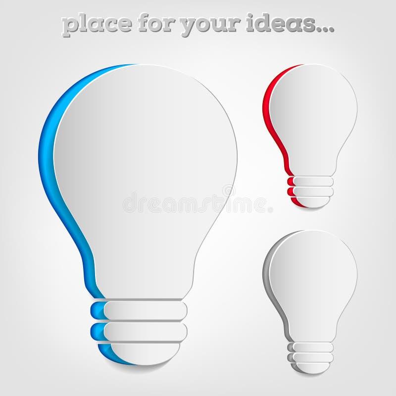 Бумажный символ шарика как стикер - концепции идеи иллюстрация вектора