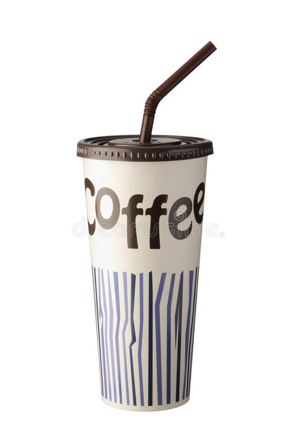 Бумажный стаканчик кофе льда с крышкой и соломой стоковое фото