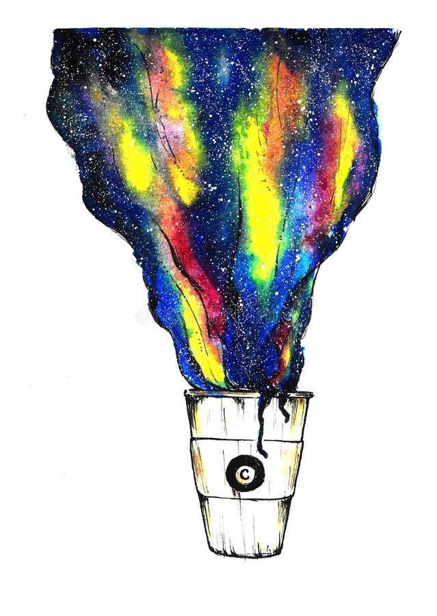 Бумажный стаканчик руки вычерченный с галактикой космоса кофе Ретро изолированные эскизы Абстрактная иллюстрация цвета космоса эс иллюстрация вектора