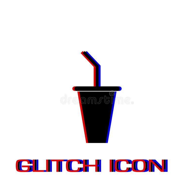 Бумажный стаканчик со значком выпивая соломы плоско иллюстрация вектора