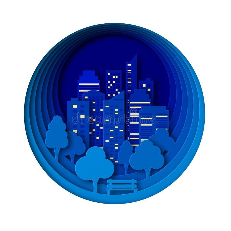 Бумажный стиль искусства ландшафта в городе и парке ночи Наслоенное воссоздание дизайна на открытом воздухе Суд деревом Конспект  иллюстрация штока