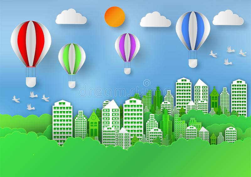 Бумажный стиль искусства ландшафта с воздушным шаром в городе для того чтобы сохранить идею мира и экологичности, абстрактную пре иллюстрация вектора
