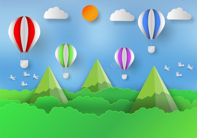 Бумажный стиль искусства ландшафта с воздушным шаром, горами и лесами для того чтобы сохранить мир и идею экологичности, абстракт бесплатная иллюстрация