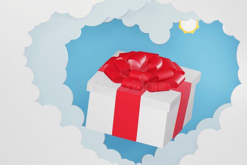 Бумажный стиль искусства подарочной коробки выходить сквозь отверстие от предпосылки форменного облака сердца и голубого неба бесплатная иллюстрация