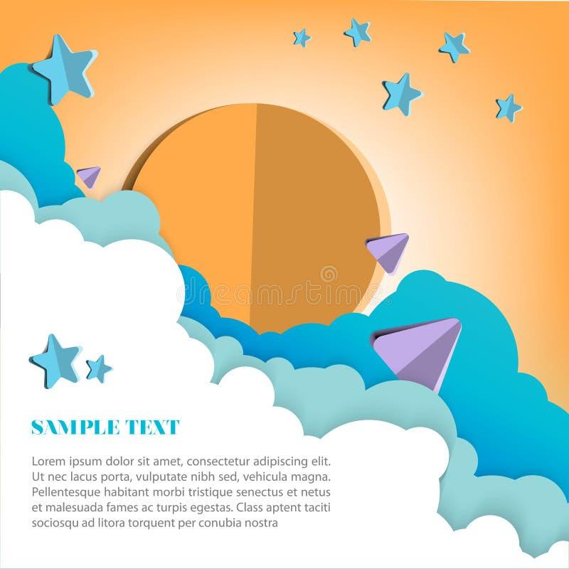 Бумажный стиль искусства с пастельной иллюстрацией неба стоковые изображения